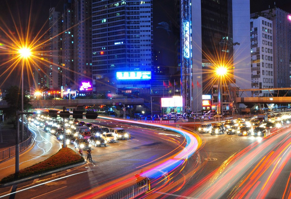 Nighttime picture of Asian city