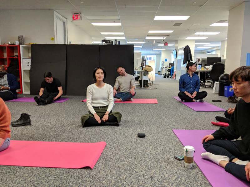 Our Connectors de-stressing with some yoga and meditation.