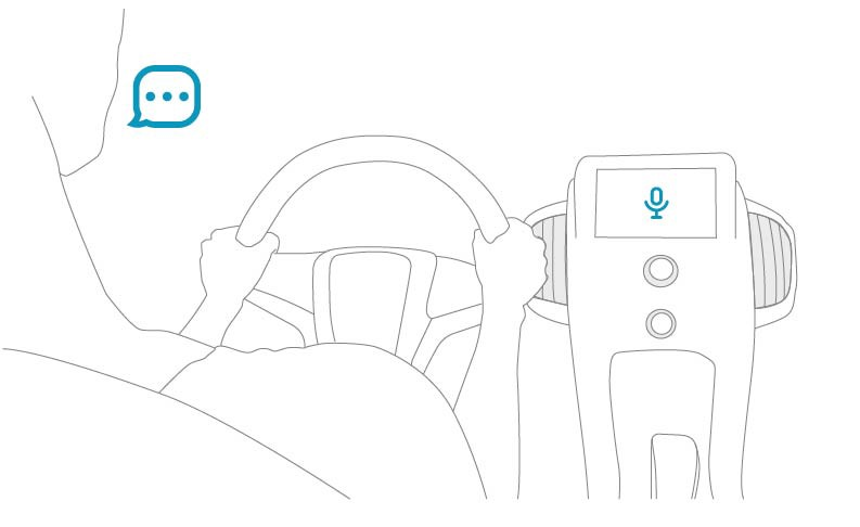 Drawing of a person driving while using their voice for console commands.