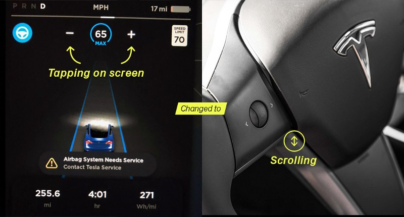 Two images. One on left is console and one on the right is a Tesla steering-wheel with a small scrolling wheel to the side.