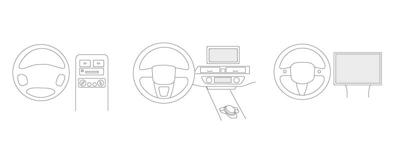 Drawing of three steering wheels and consoles, each getting progressively more modern.