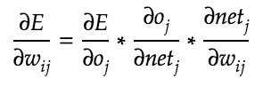 Partial derivative of error with respect to each neuron weight.