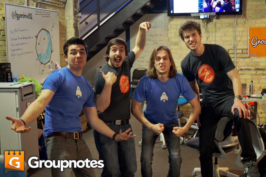 The Groupnotes team wearing the t-shirts that Mozilla sent us.