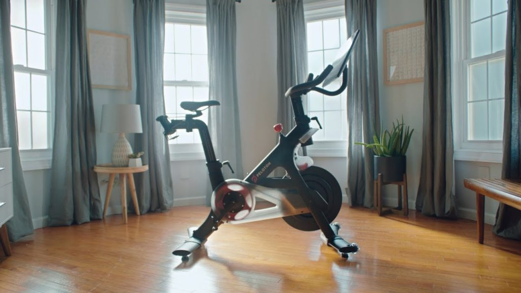 Peloton bike in the middle of a living room