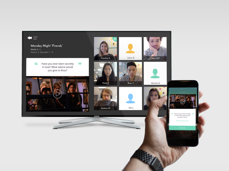 Smart TV social app with an episode of Friends in queue with a posed question along with a small group of viewers