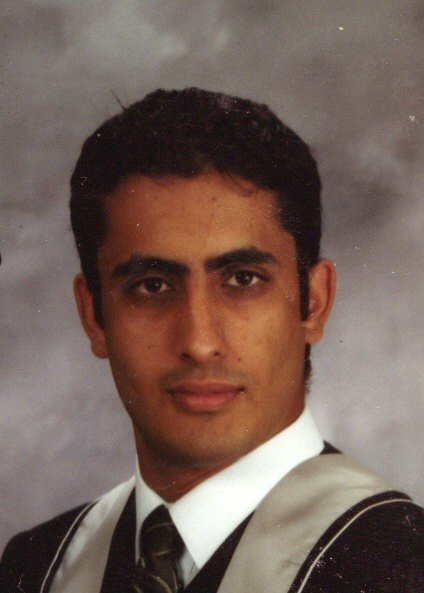 Uzair's graduation photo, sans beard.
