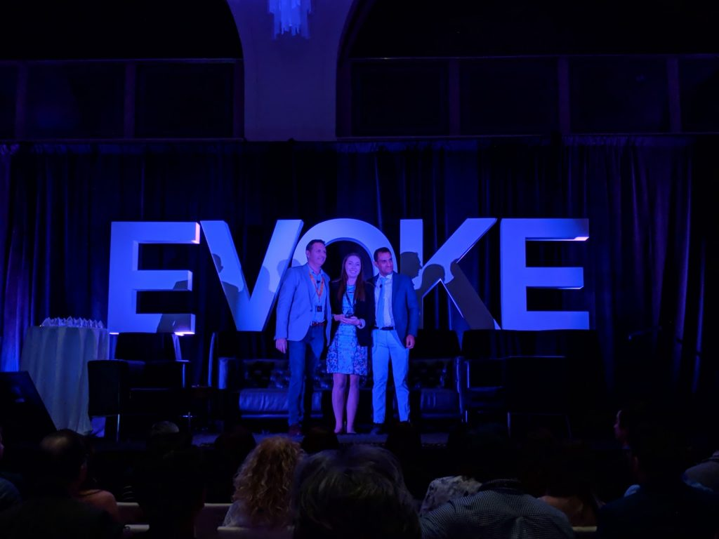 Erin receiving the Developer 30 Under 30 Award at the Evoke conference