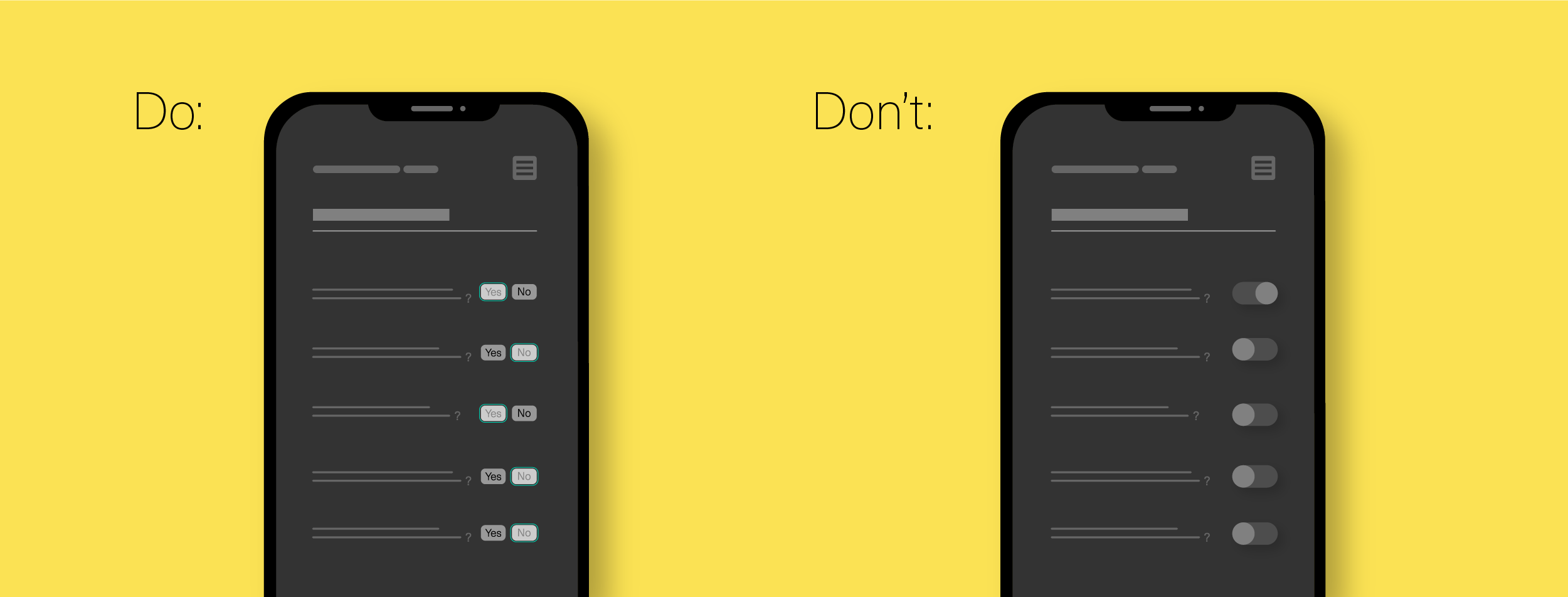 unclear user interface design for mobile app