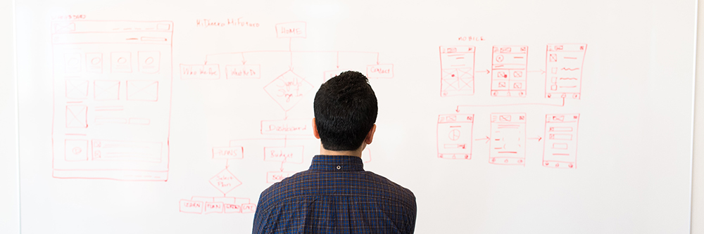 male employee in front of whiteboard covered in wireframe prototyping