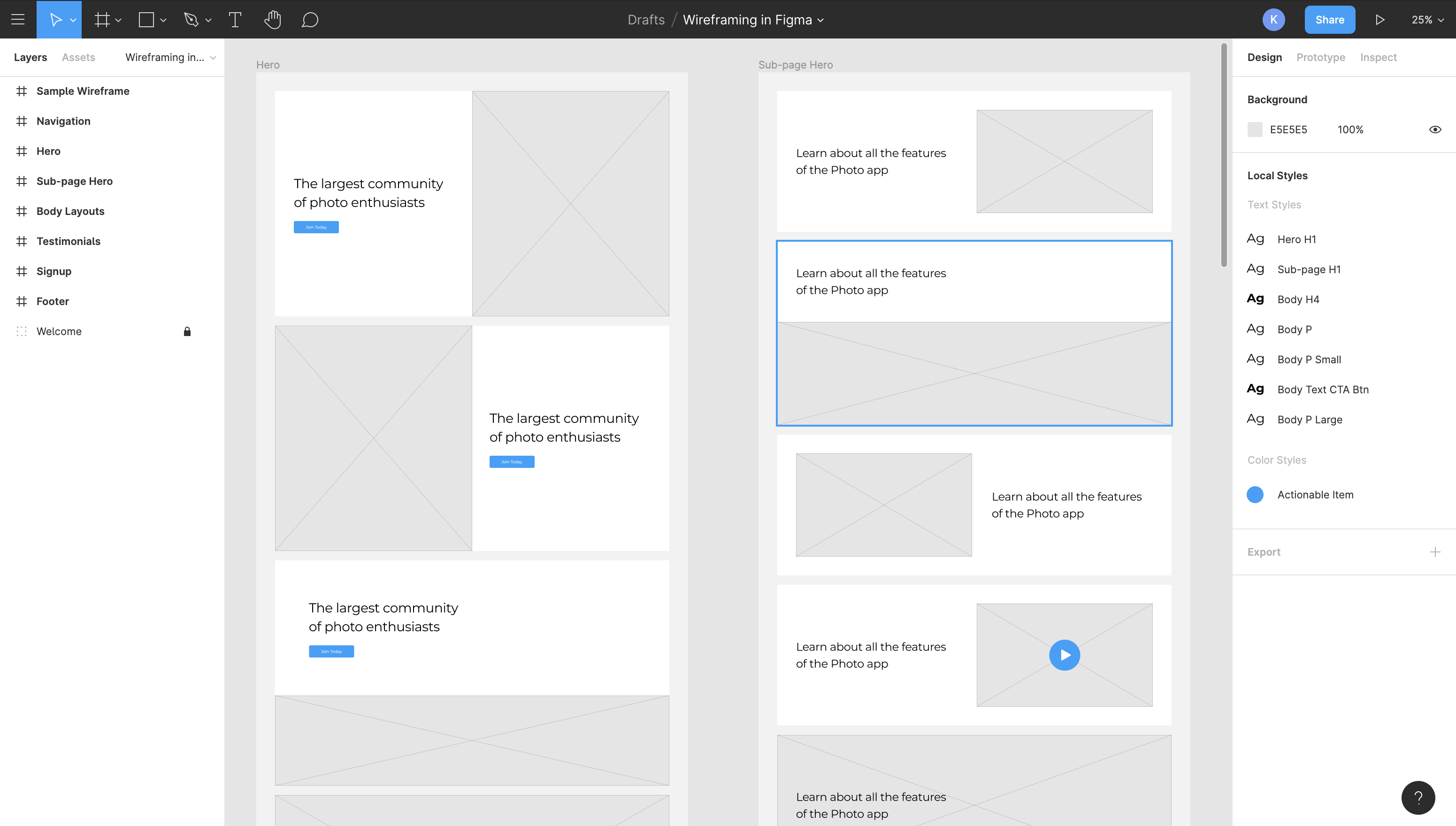 wireframing screenshot in Figma